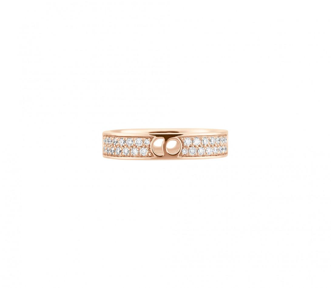Bague Eclipse petit modèle - Or rose 18K (4,20 g), diamants 0,55 ct - Face