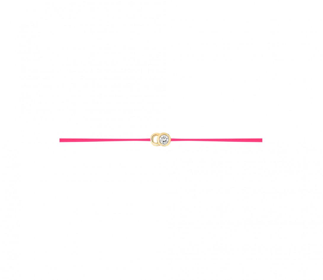 Bracelet cordon LET'S COMMIT rose fluo en or jaune - Profil