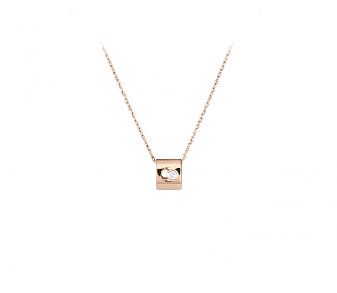 Collier Eclipse - Or rose 18K (6,30 g), diamant 0,1 ct - Vue 1