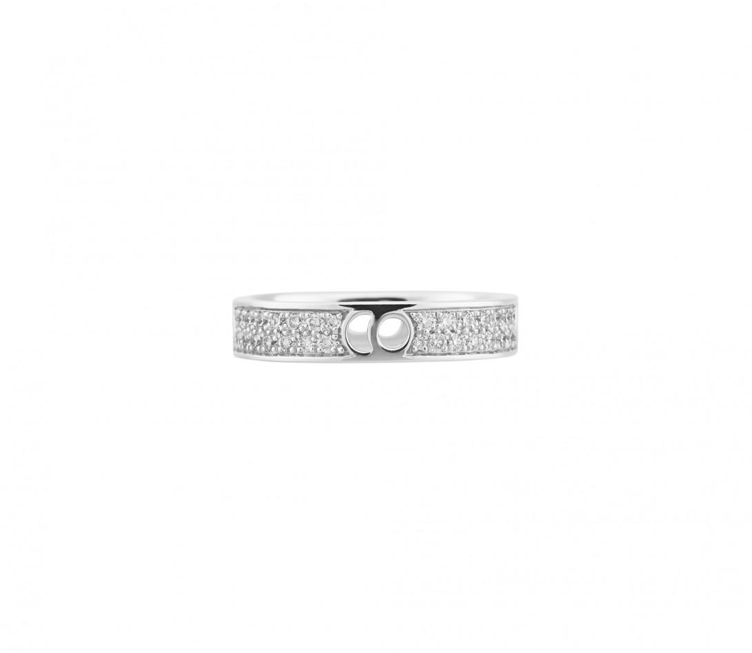 Bague Eclipse petit modèle - Or blanc 18K (4,20 g), diamants 0,55 ct - Face