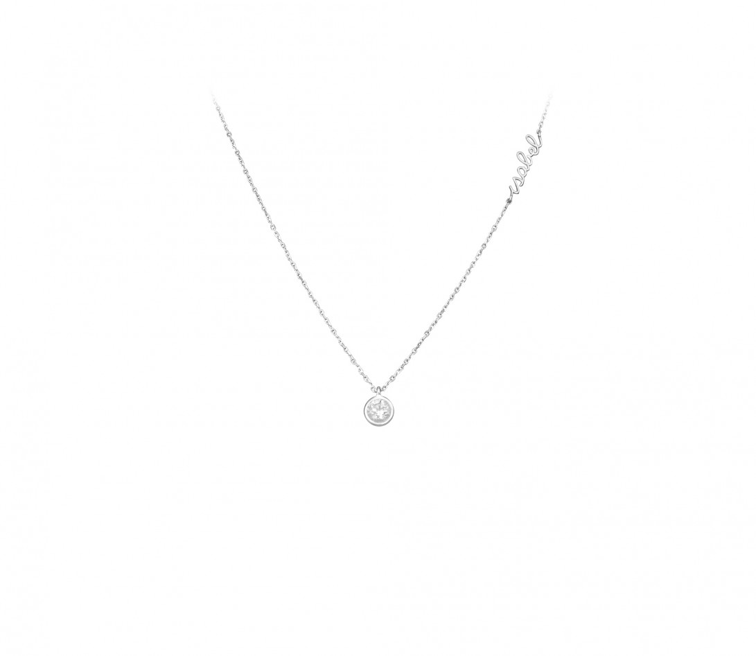 Collier ORIGINE personnalisé en or blanc 18K et diamants de synthèse - Courbet - Porté
