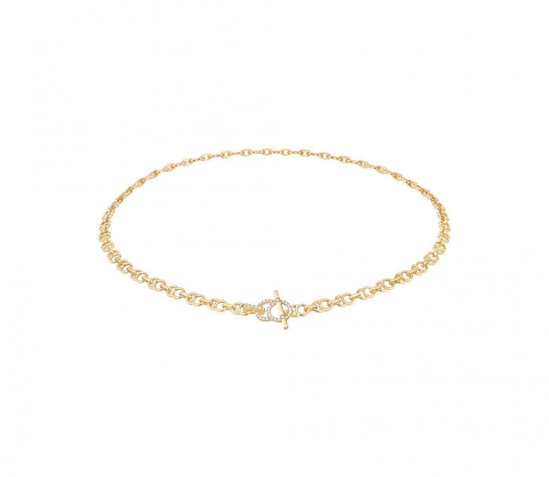 Collier chaîne CELESTE 38cm fermoir pavé en or jaune - P2