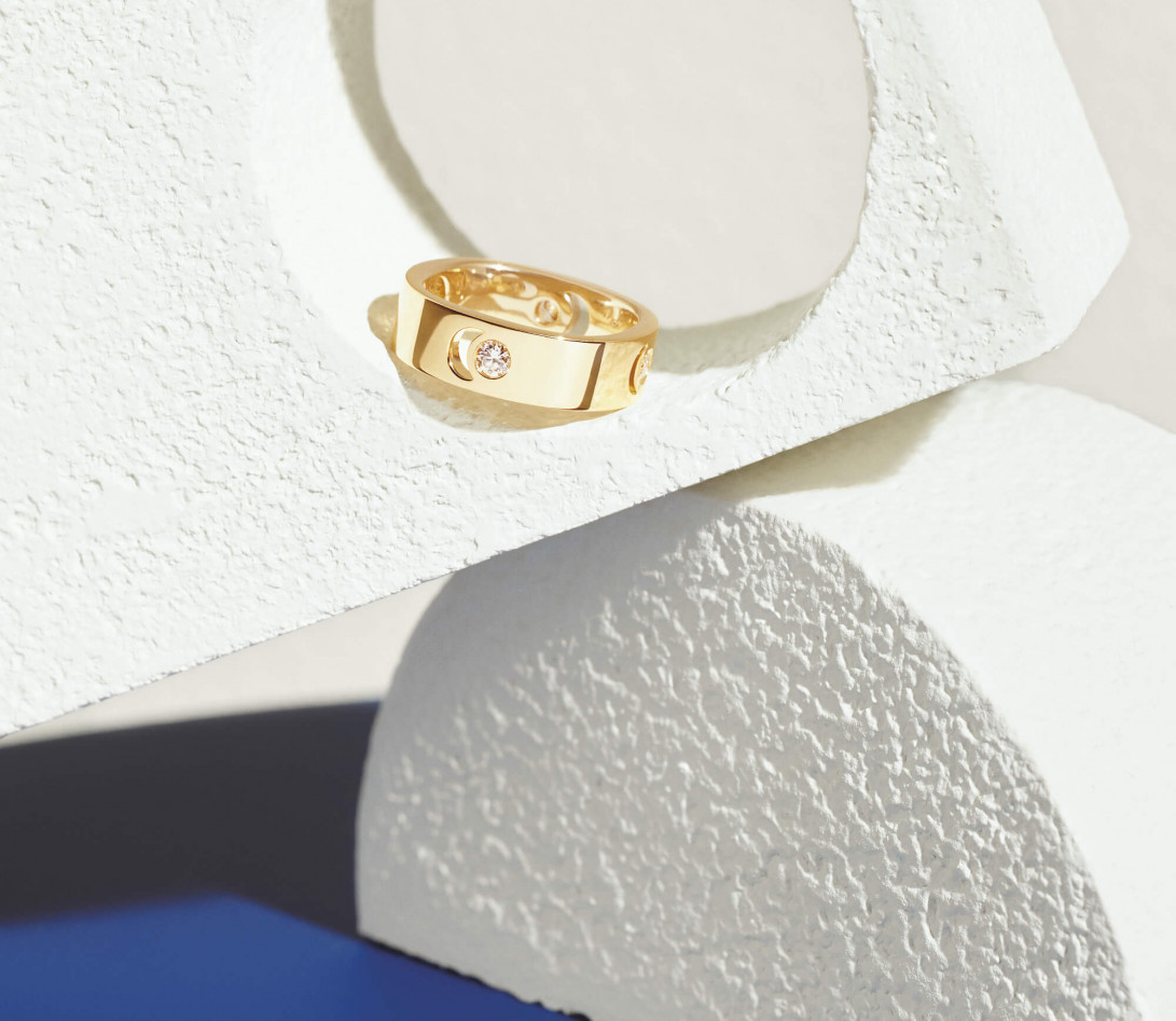 Bague Eclipse grand modèle - Or jaune 18K (7,80 g), 4 diamants 0,40 ct - Vue 8
