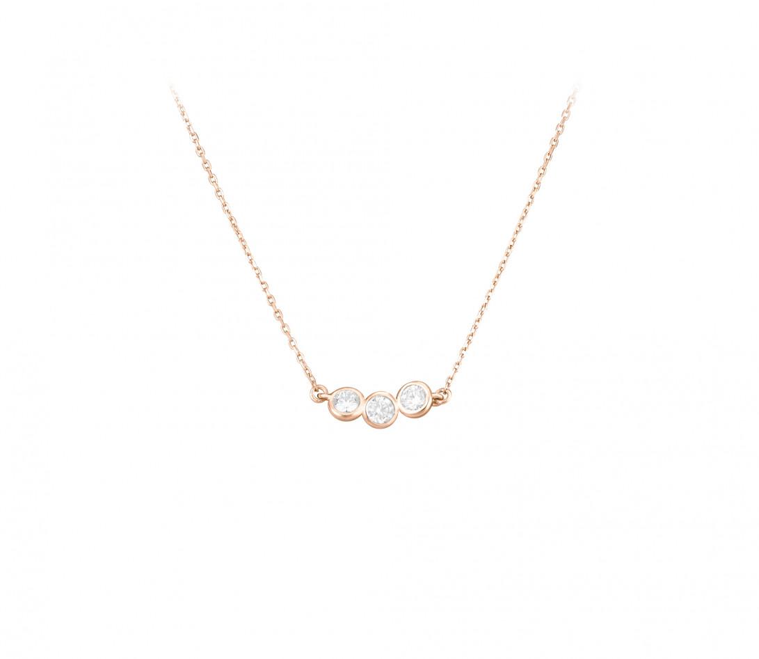 Collier 2 COURBET en or rose 18K - diamant synthétique 0,30 ct - Courbet - Vue 1