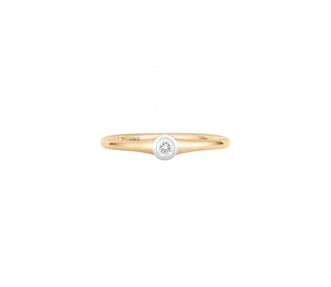Bague Origine - Or jaune 18K (2,60 g), diamant 0,10 ct - Face