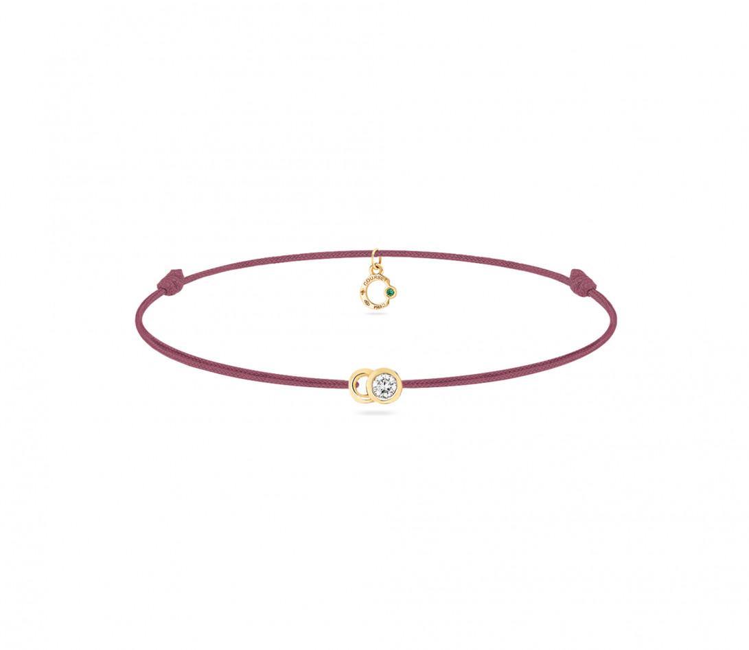 Bracelet cordon LET'S COMMIT bois de rose en or jaune - Face