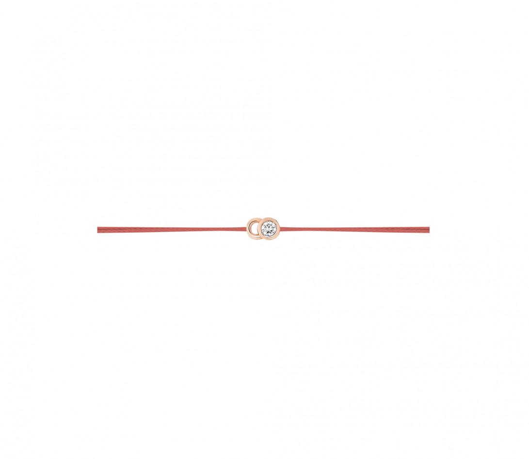 Bracelet cordon LET'S COMMIT orange corail en or rose - Profil