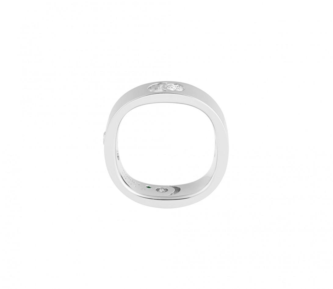 Bague Eclipse grand modèle - Or blanc 18K (7,80 g), 4 diamants 0,40 ct - Vue 2