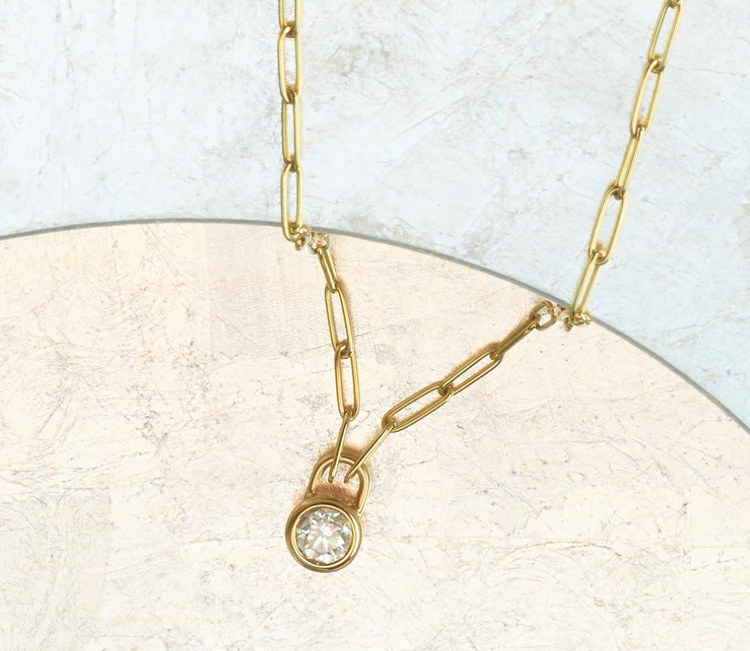 Collier Pont des Arts - Or jaune 18K (5,80 g), diamant 1,34 ct - Vue 3