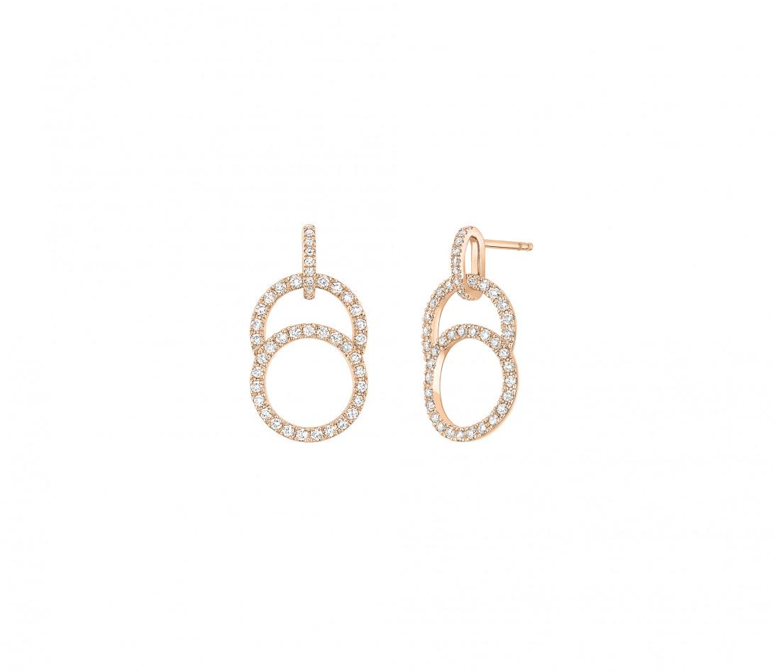 Boucles d'oreilles Céleste - Or rose 18K (4,20 g), diamants 0,75 cts - Vue 1