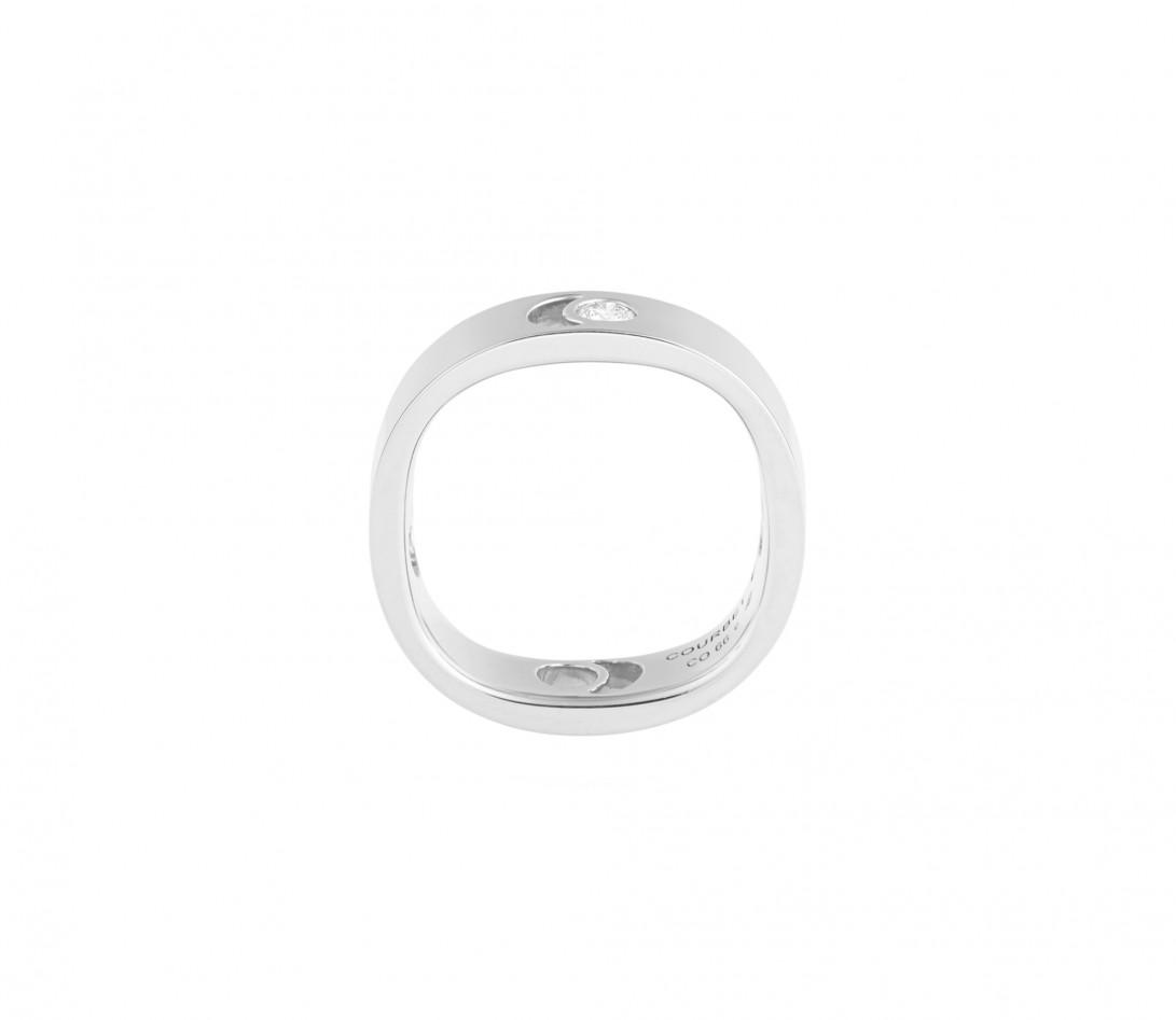 Bague Eclipse grand modèle - Or blanc 18K (7,80 g), diamant 0,10 ct - Vue 2