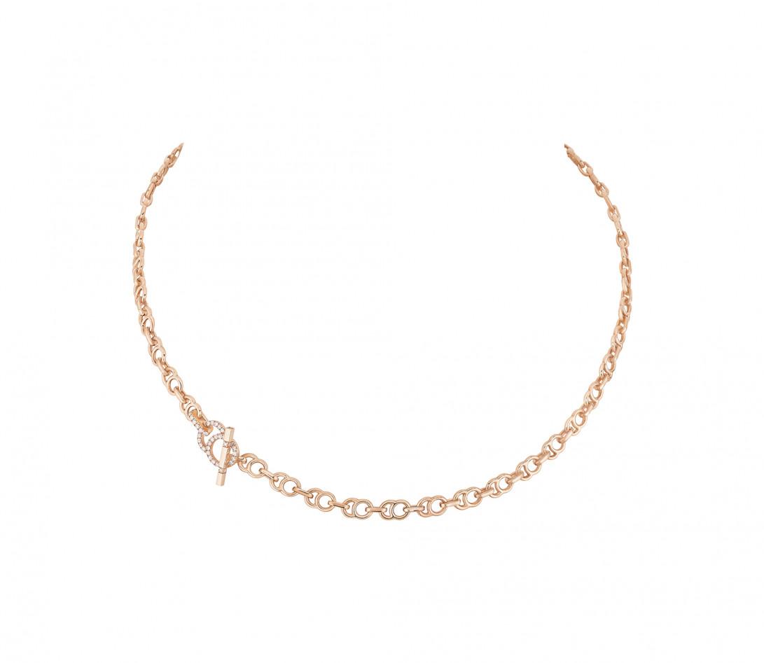 Collier chaîne CELESTE 43cm fermoir pavé en or rose - P2