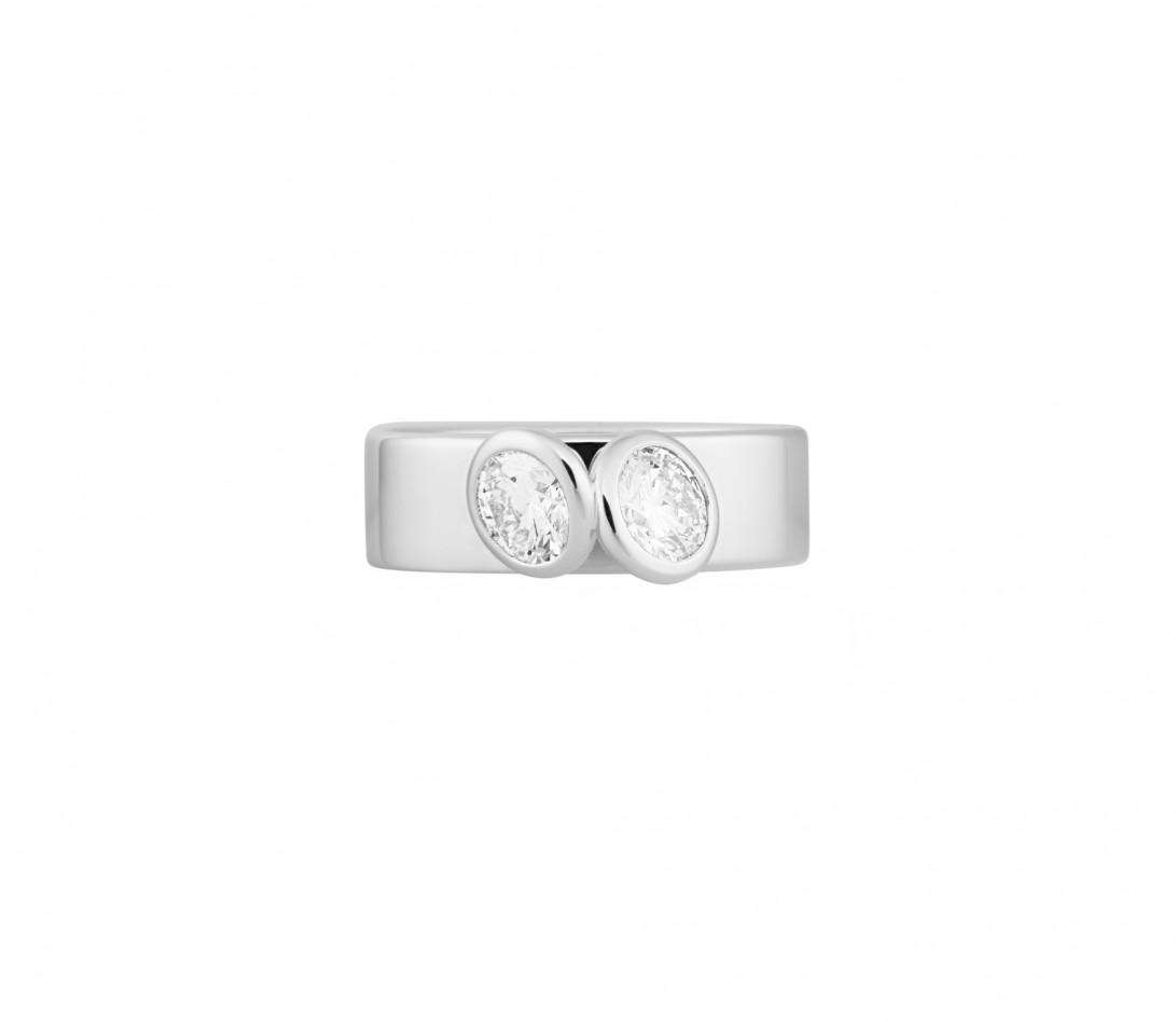 Bague 2 Courbet - Or blanc 18K (7,00g), 2 diamants 1ct - Vue 3