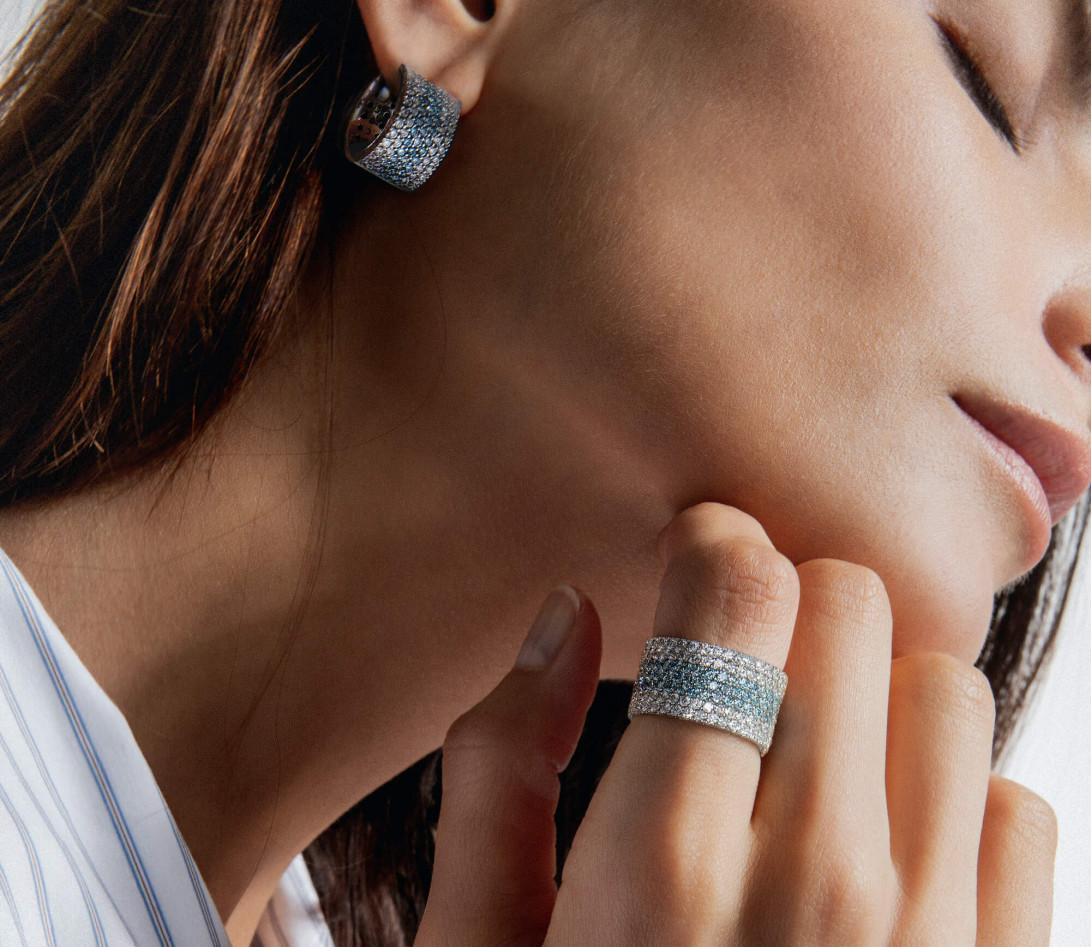 Bague Or Blanc et Diamants de synthèse 4,25 cts - Horizon - Courbet - Vue 4
