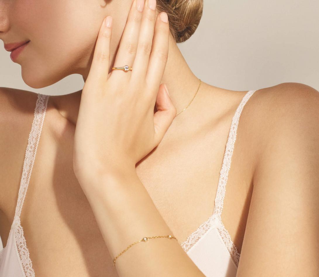 Bracelet Origine - Or jaune - 3 diamants - 0,3 cts - Vue 3