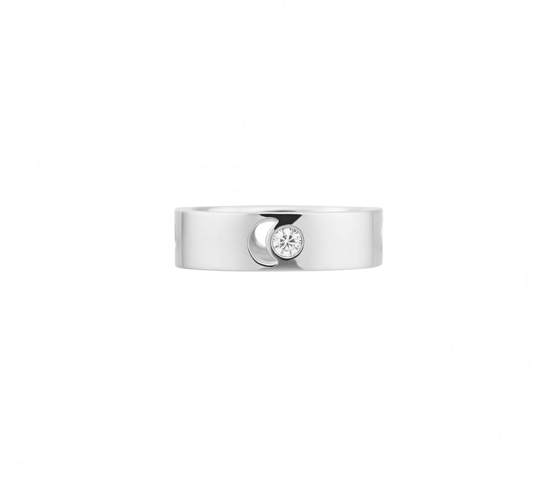 Bague Eclipse grand modèle - Or blanc 18K (7,80 g), diamant 0,10 ct - Face