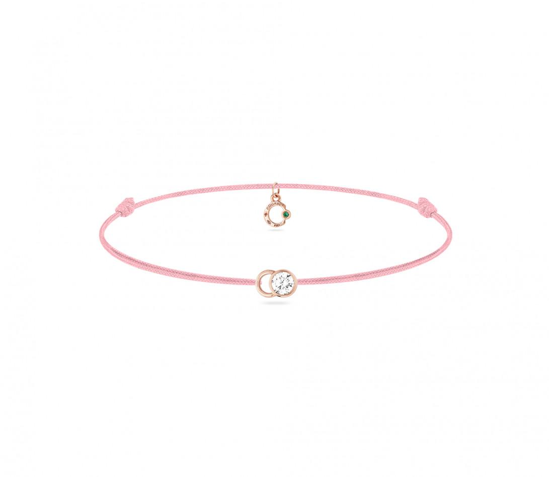 Bracelet cordon LET'S COMMIT rose ballerine en or rose - Face