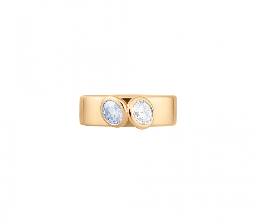 Bague 2 Courbet - Or jaune 18K (7,00g), 2 diamants (1 bleu) 1ct - Face