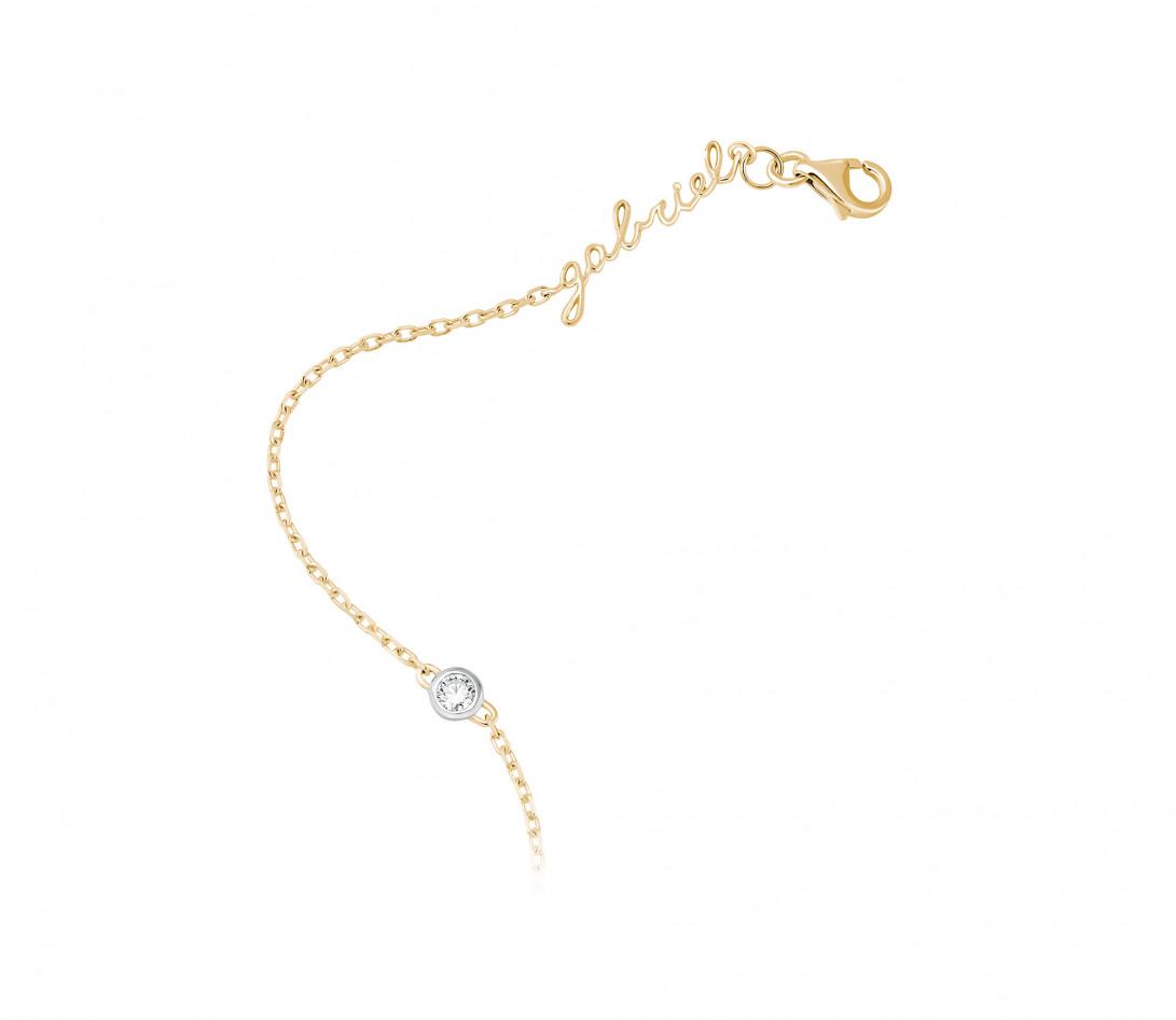 Bracelet chaîne ORIGINE 1 motif serti personnalisé en or jaune 18K - Courbet - Vue 3