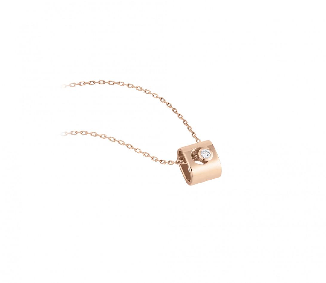 Collier Eclipse - Or rose 18K (6,30 g), diamant 0,1 ct - Vue 2