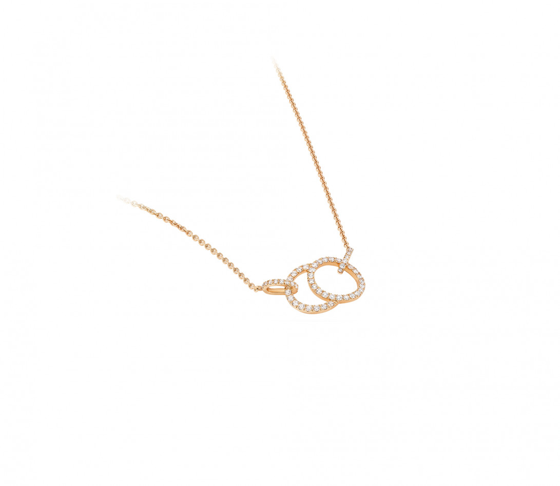 Collier - Or rose 18K (5,00 g), diamants 0,39 cts - Vue 2