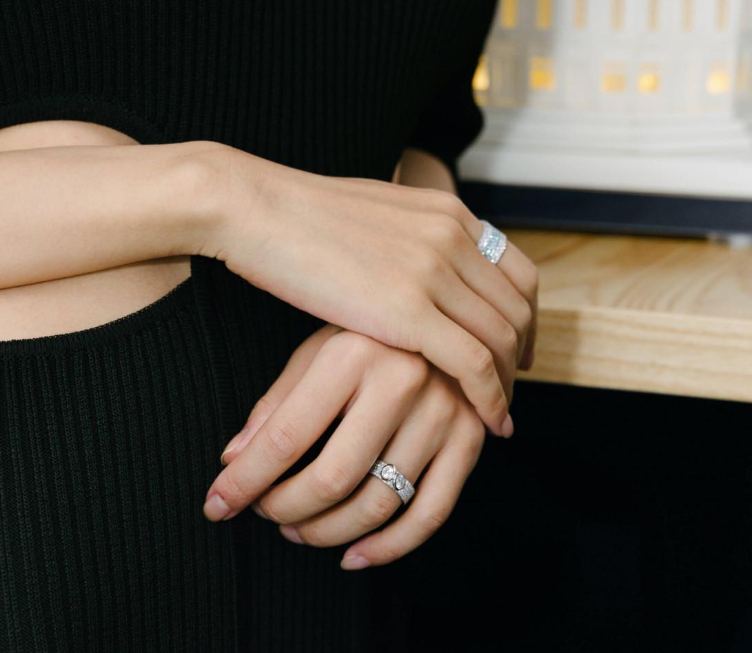 Bague Or Blanc et Diamants de synthèse 4,25 cts - Horizon - Courbet - Vue 5