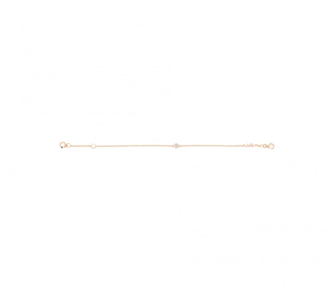 Bracelet chaîne ORIGINE 1 motif serti personnalisé en or rose 18K - Courbet - Vue 6