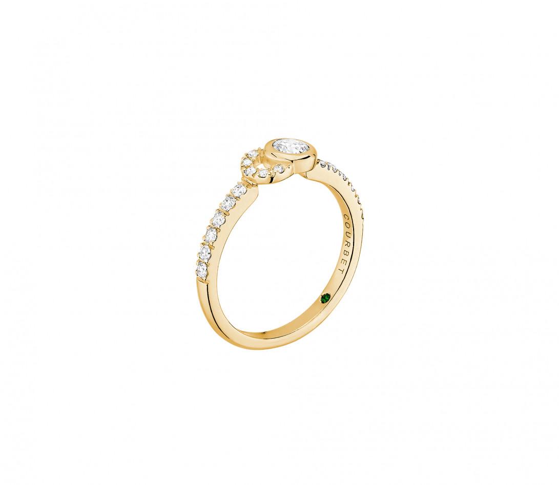Bague CO demi pavée - Or jaune 18K, diamants synthétiques - Vue 2
