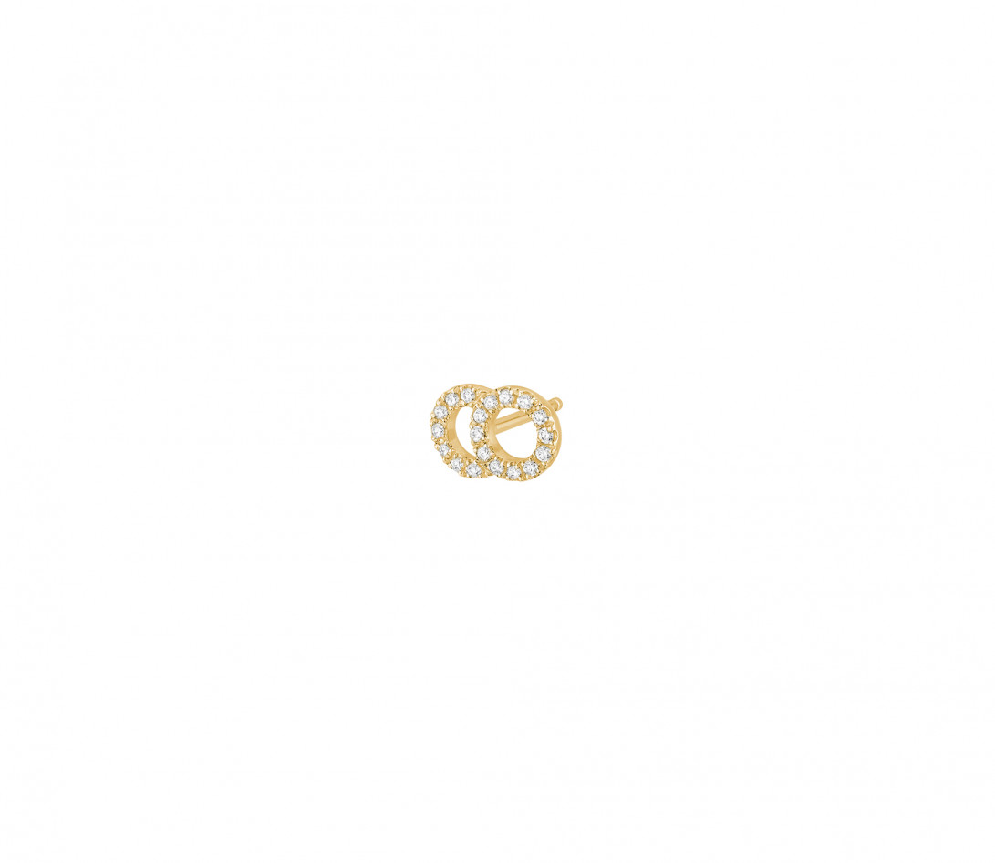 Mono boucle d'oreille puce CELESTE PM pavée en or jaune - Vue 2