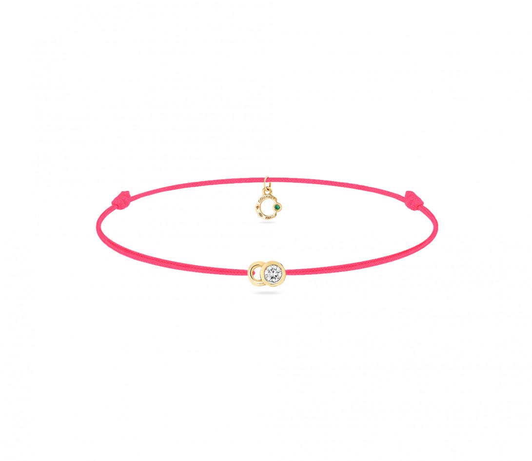 Bracelet cordon LET'S COMMIT rose fluo en or jaune - Face