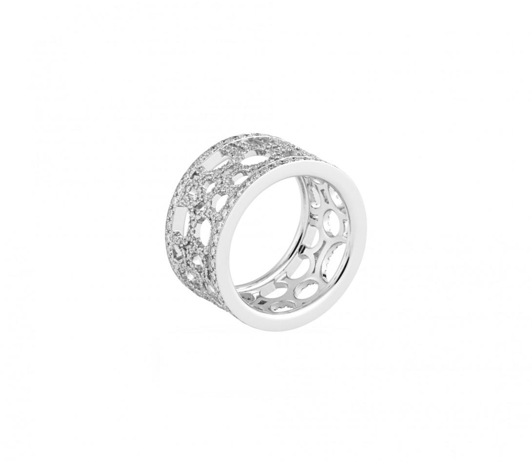 Bague Constellation - Or blanc 18K (7,35 g) - diamants 1,70 carats - Côté